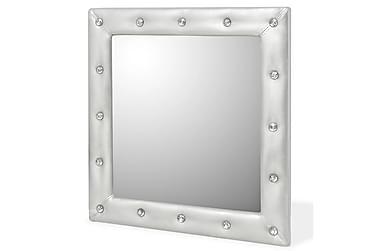 Väggspegel konstläder blank silver 60x60 cm