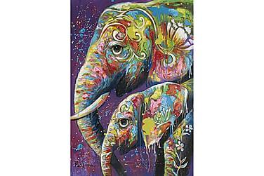 Canvastavla Två Elefanter