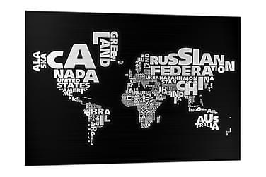Glastavla Världskarta Svart