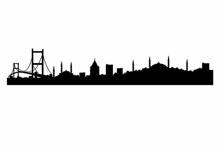 Wall Sticker 72x19 cm City Istanbul - Vinyl/Svart - Heminredning - Väggdekor - Wall stickers