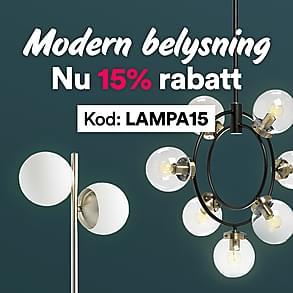 Modern belysning - nu 15% rabatt!