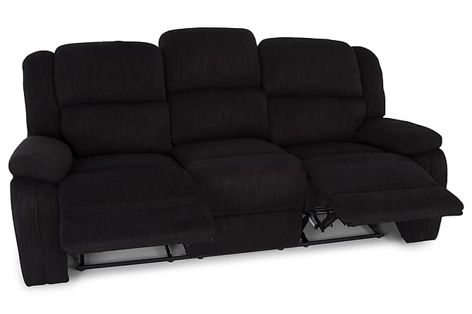 Cancouver Reclinersofa 3-Seters Svart Stoff - Chilli