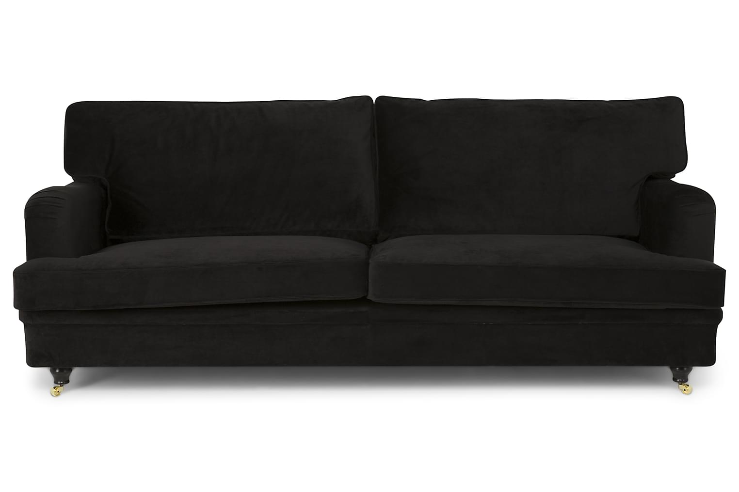 Yardley YARDLEY 4-sits Soffa Sammet Svart -