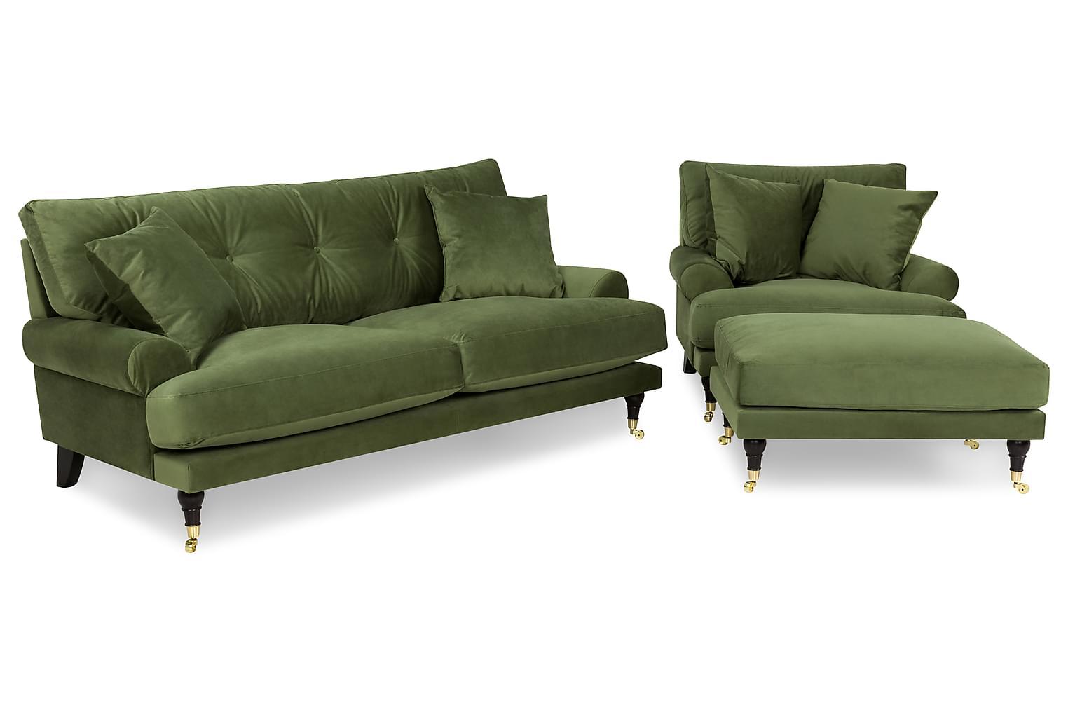 ANTHONY 2-sits+Fåtölj+Fotpall Sammet Grön -