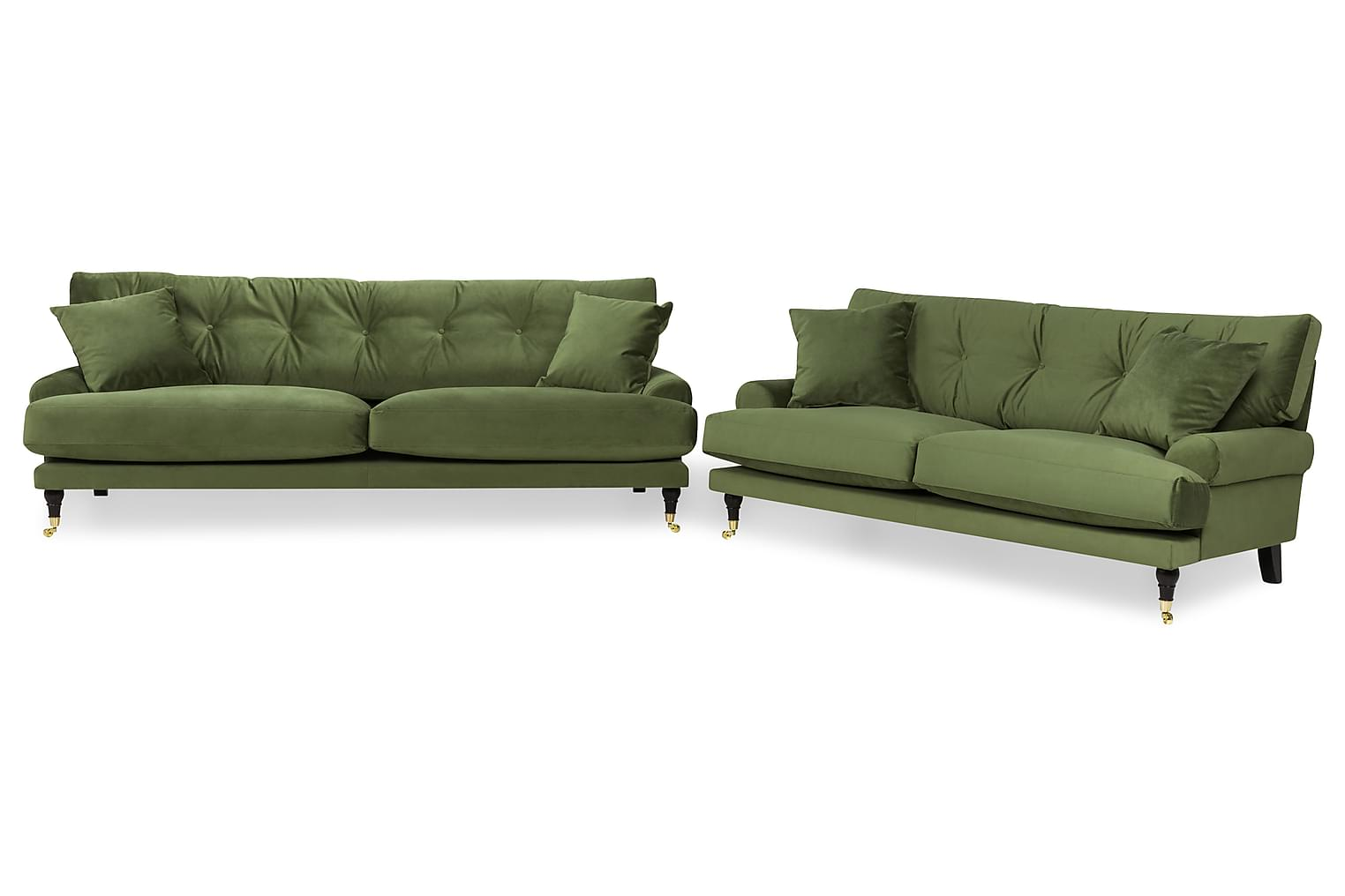ANTHONY 3+2-sits Sammet Grön -