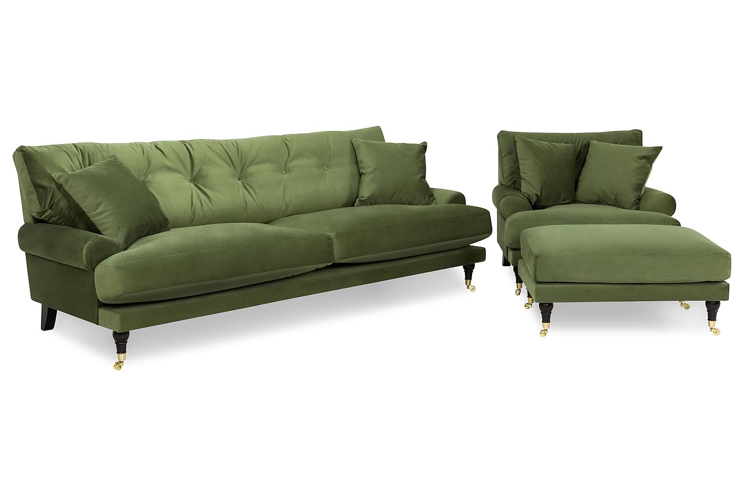 ANTHONY 3-sits+Fåtölj+Fotpall Sammet Grön -