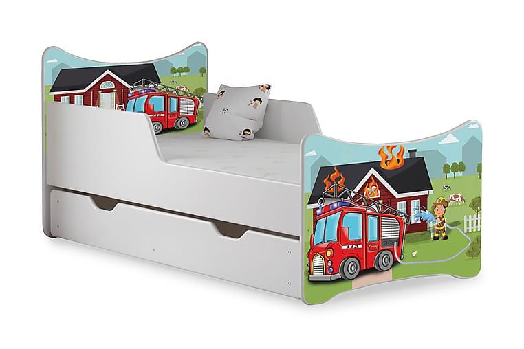 Wiggly Barnsäng med Förvaring Brandbil inkl Madrass - Vit - Möbler - Barnmöbler - Barnsängar & juniorsängar