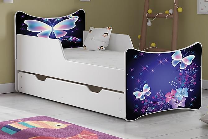 Wiggly Barnsäng Stor med Förvaring Stor Butterfly - Vit - Möbler - Barnmöbler - Barnsängar & juniorsängar