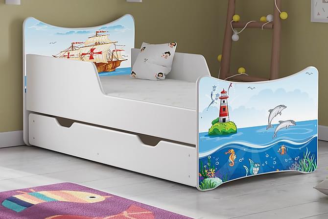 Wiggly Barnsäng Medium med Förvaring Skepp/Delfin/Fyr - Vit - Möbler - Barnmöbler - Barnsängar & juniorsängar