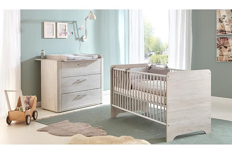 Leon Barnmöbelset - Vit/Trä/Natur/Silver - Möbler - Barnmöbler - Förvaring barnrum