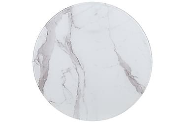Bordsskiva vit Ø80 cm glas med marmortextur