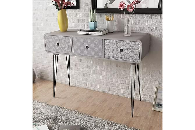Konsolbord med 3 lådor grå - Grå - Möbler - Bord - Lampbord & sidobord
