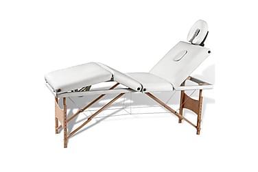 Gräddvit hopfällbar 4-sektions massagebänk med träram