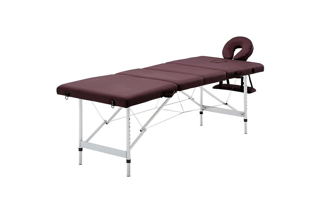 Hopfällbar massagebänk 4 sektioner aluminium lila - Lila - Möbler - Bord - Massagebord
