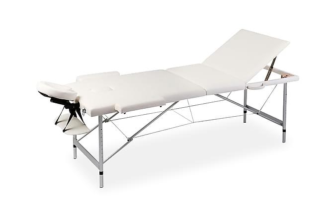 Hopfällbar massagebänk med 3 sektioner aluminiumram gräddvit - Vit - Möbler - Bord - Massagebord