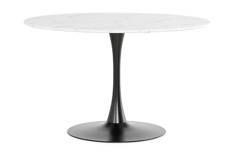 Caitly Matbord 120 cm Runt - Vit Marmor/Svart - Möbler - Bord - Matbord & köksbord