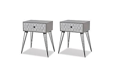 Sängbord m. låda 2 st grå