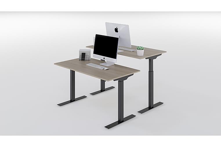 Höj & Sänkbart Skrivbord Ek Bordsskiva, Svarta Bordsben - AZ Design - Möbler - Bord - Skrivbord