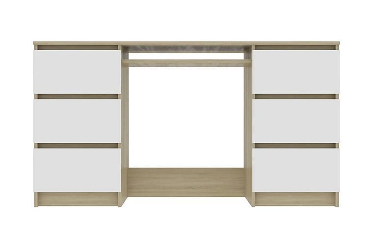 Skrivbord vit och sonama-ek 140x50x77 cm spånskiva - Beige - Möbler - Bord - Skrivbord
