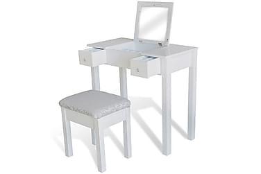 Sminkbord m. pall & 1 uppfällbar spegel vit