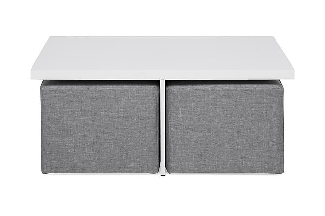 Boxy Soffbord 100 cm med 2 Pallar - Vit/Ljusgrå - Möbler - Bord - Soffbord