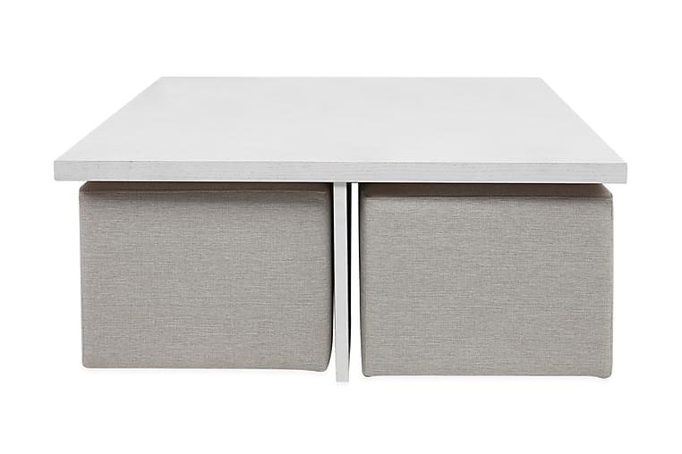 Boxy Soffbord 100 cm med 4 Pallar - Vit/Beige - Möbler - Bord - Soffbord