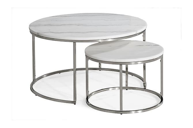 Carrie Satsbord Runt - Vit/Krom - Möbler - Bord - Soffbord