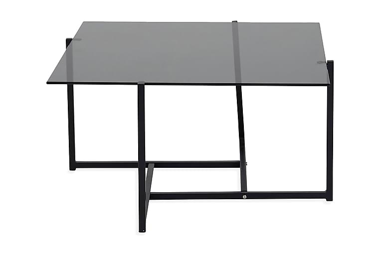 Hedine Soffbord 80 cm Rökigt Glas - Svart/Grå - Möbler - Bord - Soffbord