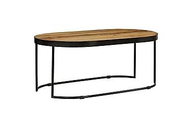 Soffbord massivt grovt mangoträ & stål oval 110 cm