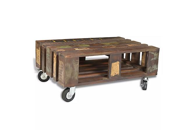 Soffbord med 4 hjul återvunnet trä - Brun - Möbler - Bord - Soffbord