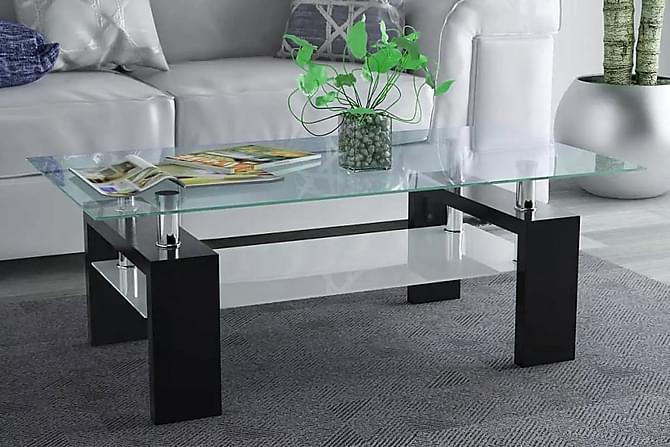 Soffbord med hylla undertill 110x60x40 cm högglans svart - Svart - Möbler - Bord - Soffbord