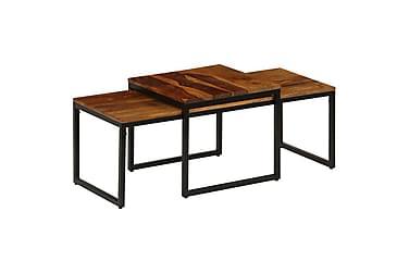 Soffbord set 2 delar massivt mangoträ och stål