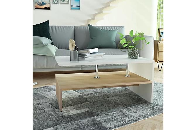 Soffbord spånskiva 90x59x42 cm ekfärg och vit - Vit - Möbler - Bord - Soffbord