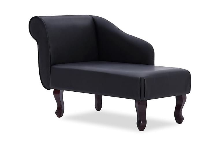 Schäslong svart konstläder - Svart - Möbler - Fåtöljer & fotpallar - Liggfåtölj