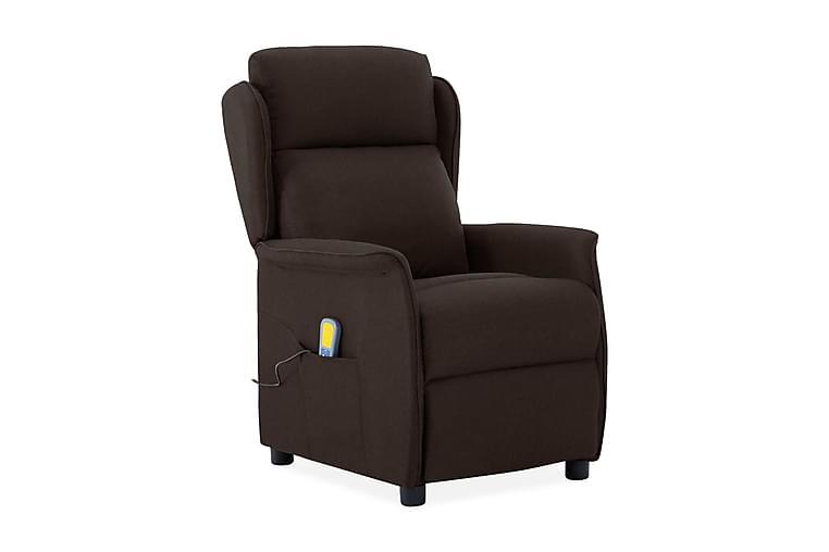 Massagefåtölj mörkbrun tyg - Brun - Möbler - Fåtöljer & fotpallar - Massagestol & massagefåtölj