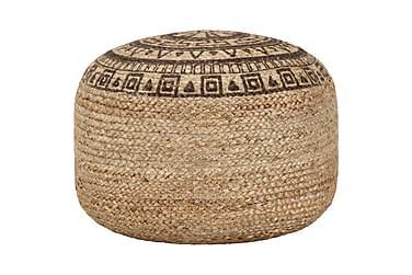 Handgjord sittpuff brun 45x30 cm jute