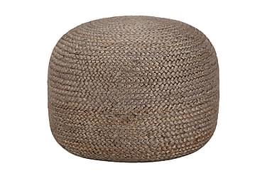 Handgjord sittpuff ljusgrå 45x30 cm jute