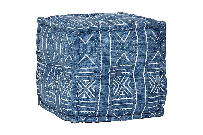 Sittpuff med mönster kub bomull handgjord 40x40 cm indigo - Blå - Möbler - Fåtöljer & fotpallar - Sittpuff