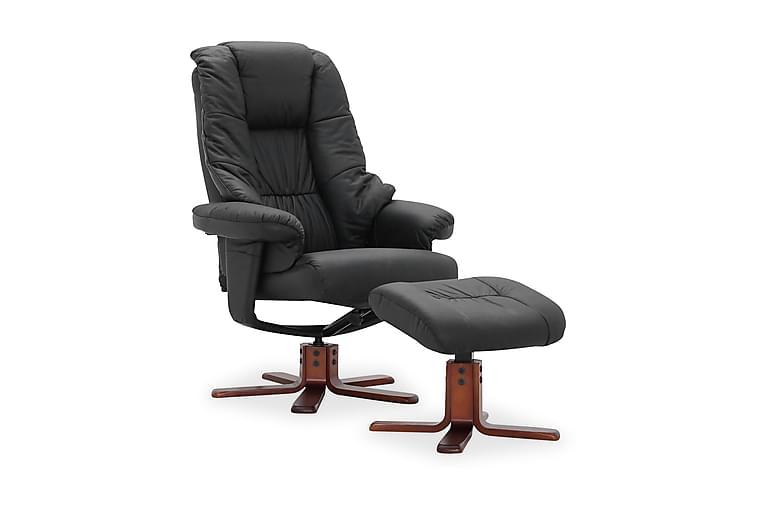 Comfy Snurrfåtölj med Fotpall - Svart/Läder/PVC - Möbler - Fåtöljer & fotpallar - Skinnfåtölj & läderfåtölj