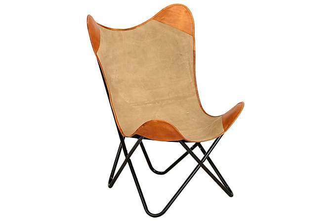 Fladdermusfåtölj brun äkta läder - Brun - Möbler - Fåtöljer & fotpallar - Fåtöljer
