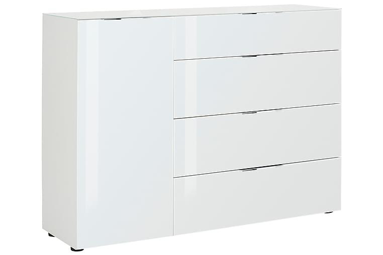 Laufeld Skänk 135.3x98.7 cm - Matt Vit/Vitt Glas - Möbler - Förvaring - Förvaringsskåp