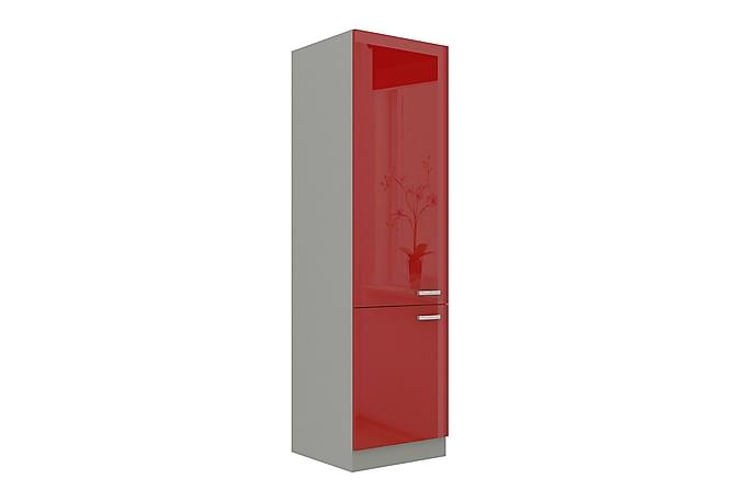 Rose Skåp med dörrar 60x57x210 cm - Röd|Vit - Möbler - Förvaring - Förvaringsskåp