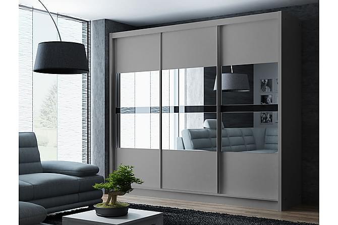 Elvin Garderob 250 cm Skjutdörrar Spegel - Beige - Möbler - Förvaring - Garderober & garderobssystem