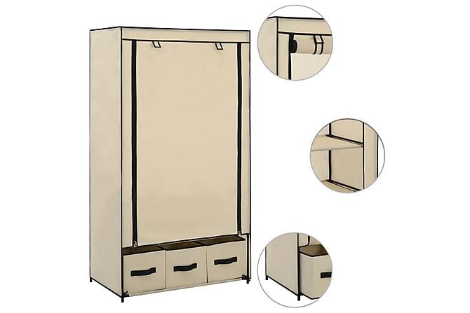 Garderob gräddvit 87x49x159 cm tyg - Möbler - Förvaring - Garderober & garderobssystem