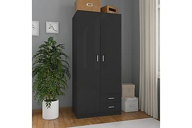 Garderob högglans svart 80x52x180 cm spånskiva
