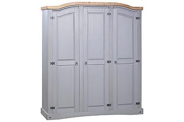 Garderob i mexikansk coronastil furu 3 dörrar grå