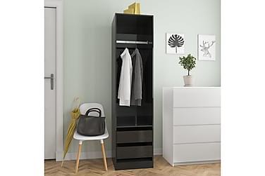 Garderob med lådor svart högglans 50x50x200 cm spånskiva