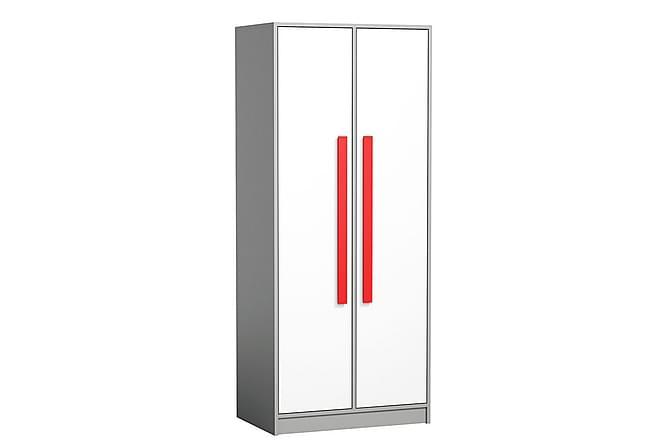 Git Garderob 80x50x191 cm - Röd|Vit - Möbler - Förvaring - Garderober & garderobssystem