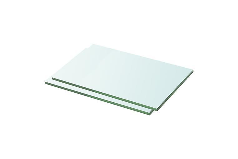 Hyllplan 2 st glas genomskinlig 30x15 cm - Transparent - Möbler - Förvaring - Garderober & garderobssystem
