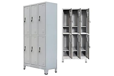 Klädskåp för omklädningsrum med 6 fack stål grå